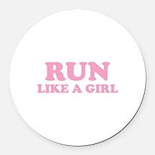 Run Like A Girl Round Car Magnet