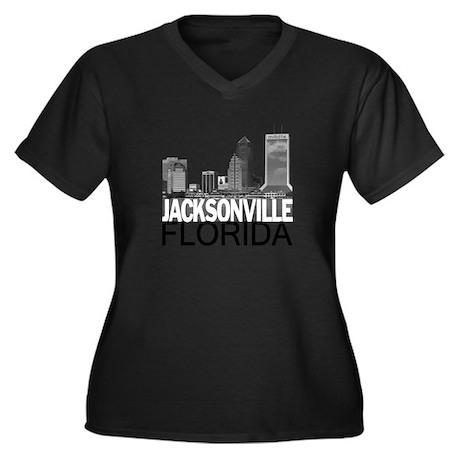 Jacksonville Skyline Women's Plus Size V-Neck Dark