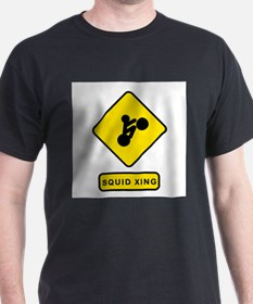 Squid Crossing Black T-Shirt