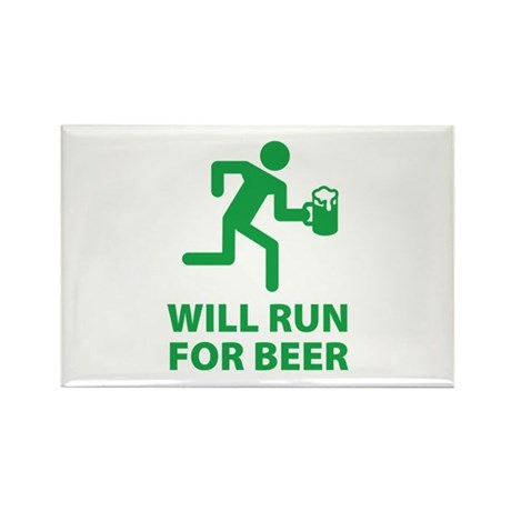 Will Run For Beer Rectangle Magnet
