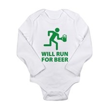 Will Run For Beer Long Sleeve Infant Bodysuit