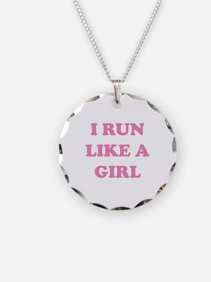 I Run Like A Girl Necklace Circle Charm