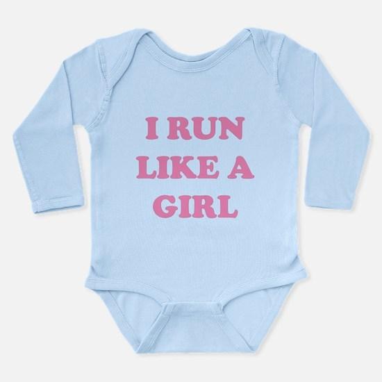 I Run Like A Girl Long Sleeve Infant Bodysuit