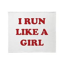 I Run Like A Girl Throw Blanket