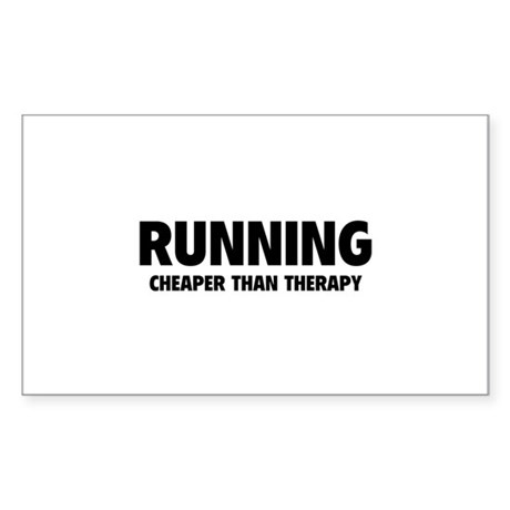 Running Cheaper Than Therapy Sticker (Rectangle)