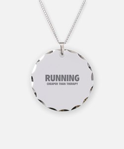Running Cheaper Than Therapy Necklace Circle Charm