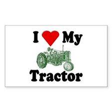 I Love My Tractor Rectangle Decal