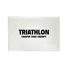 Triathlon Cheaper Than Therapy Rectangle Magnet