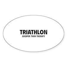 Triathlon Cheaper Than Therapy Decal