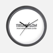 Triathlon Pain Now Beer Later Wall Clock