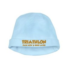 Triathlon Pain Now Beer Later baby hat