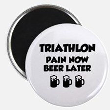 """Triathlon Pain Now Beer Later 2.25"""" Magnet (10 pac"""