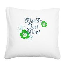 Worlds Best Mimi Square Canvas Pillow