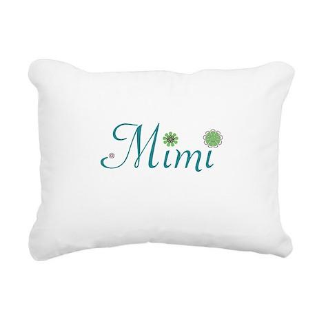 Mimi Green Flowers Rectangular Canvas Pillow