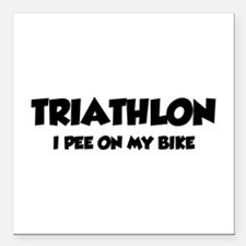 "Triathlon I Pee On My Bike Square Car Magnet 3"" x"