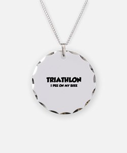 Triathlon I Pee On My Bike Necklace Circle Charm