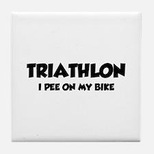 Triathlon I Pee On My Bike Tile Coaster