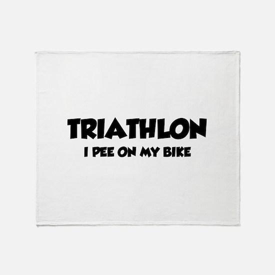 Triathlon I Pee On My Bike Throw Blanket