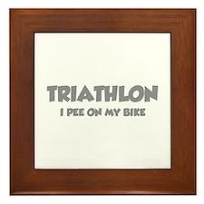 Triathlon I Pee On My Bike Framed Tile