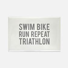 Swim Bike Run Repeat Triathlon Rectangle Magnet
