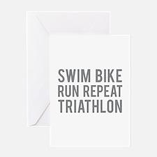 Swim Bike Run Repeat Triathlon Greeting Card