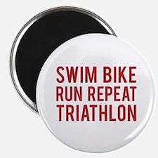 "Swim Bike Run Repeat Triathlon 2.25"" Magnet (10 pa"
