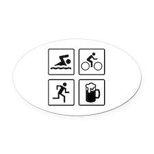 Swim Bike Run Drink Oval Car Magnet