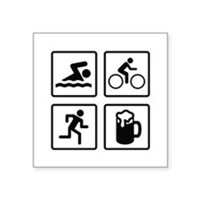 "Swim Bike Run Drink Square Sticker 3"" x 3"""