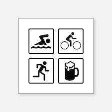"Swim Bike Run Drink Square Sticker 3"" x 3"""