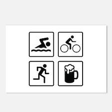 Swim Bike Run Drink Postcards (Package of 8)