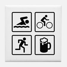 Swim Bike Run Drink Tile Coaster
