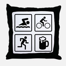 Swim Bike Run Drink Throw Pillow
