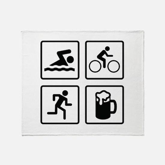 Swim Bike Run Drink Throw Blanket
