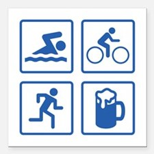 "Swim Bike Run Drink Square Car Magnet 3"" x 3"""