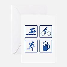Swim Bike Run Drink Greeting Card