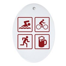Swim Bike Run Drink Ornament (Oval)