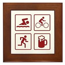 Swim Bike Run Drink Framed Tile
