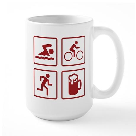 Swim Bike Run Drink Large Mug