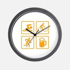 Swim Bike Run Drink Wall Clock