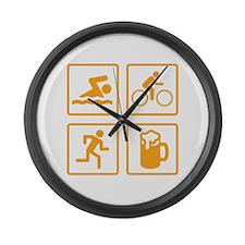 Swim Bike Run Drink Large Wall Clock