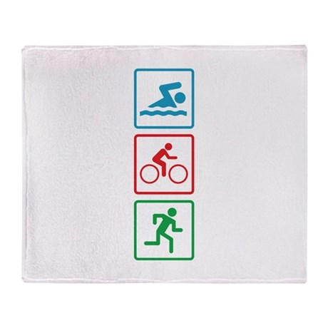 Triathlon Swim Bike Run Throw Blanket