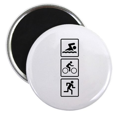 "Triathlon Swim Bike Run 2.25"" Magnet (100 pack)"