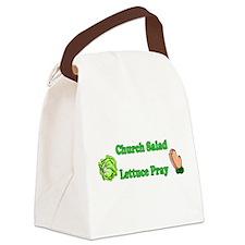 Church Salad, Lettuce Pray Canvas Lunch Bag