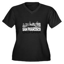 San Francisco Skyline Women's Plus Size V-Neck Dar