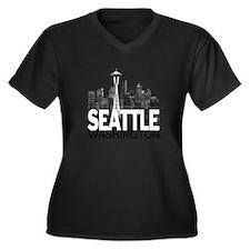 Seattle Skyline Women's Plus Size V-Neck Dark T-Sh
