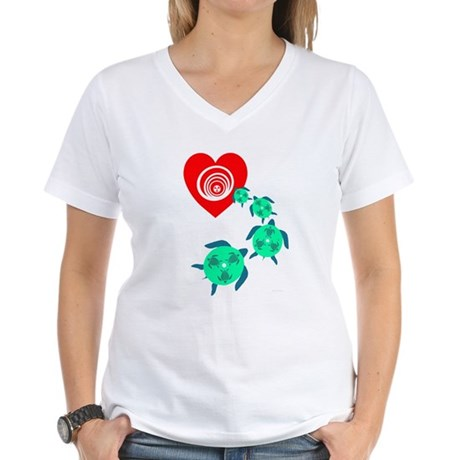 Follow your Heart Turtle Women's V-Neck T-Shirt