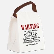 warningwhtbg.png Canvas Lunch Bag