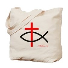 cross and fish Tote Bag