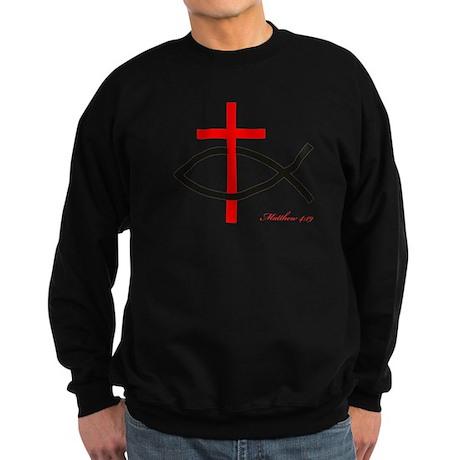 cross and fish Sweatshirt (dark)