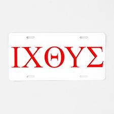 cross and fish Aluminum License Plate